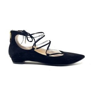 Unisa Black Suede Lace Up Pointed Toe Flats